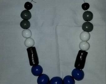 Cobalt Blue & Black Beaded Necklace