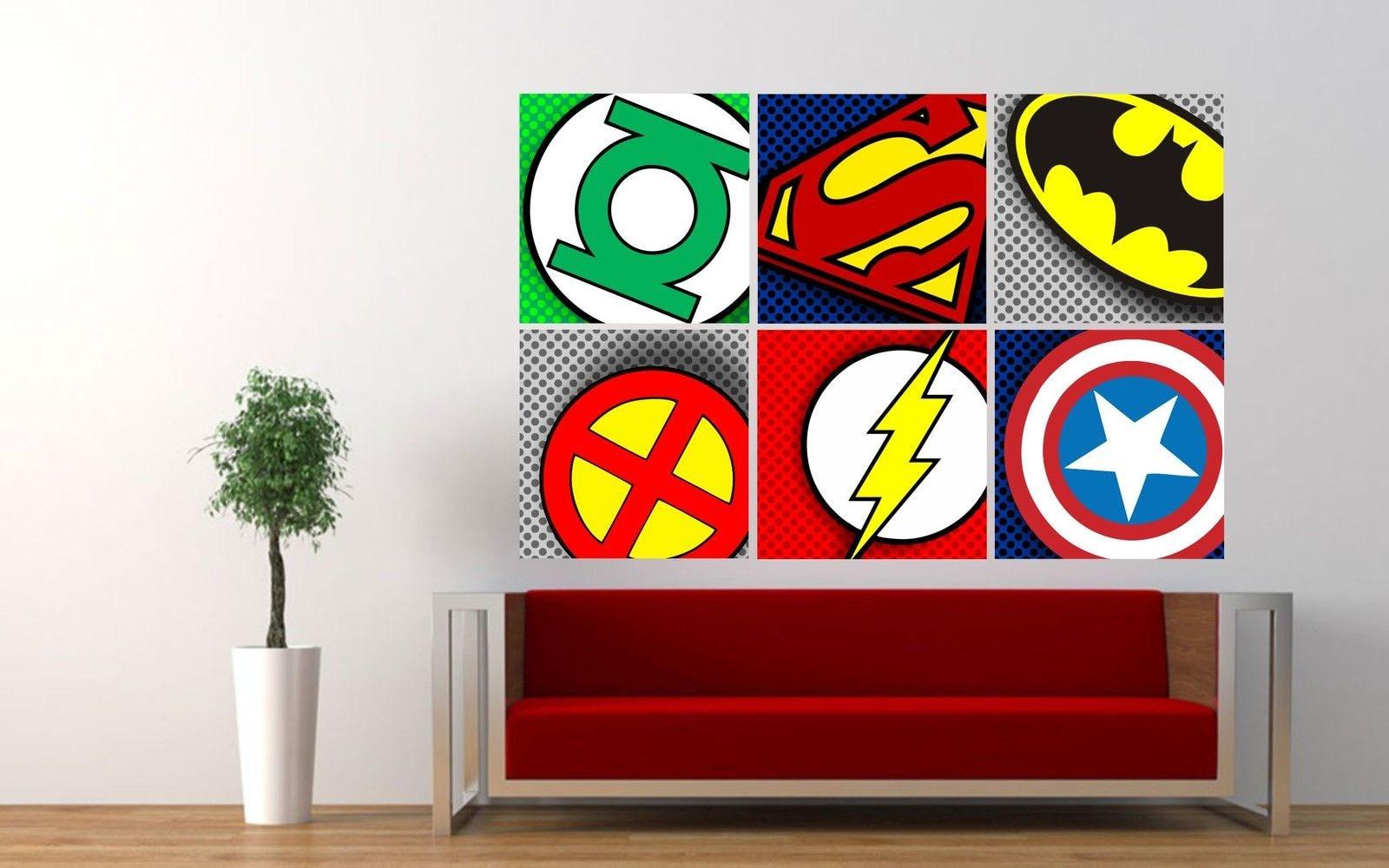 Superhero logos pop art badges wall sticker boys bedroom decal zoom amipublicfo Choice Image