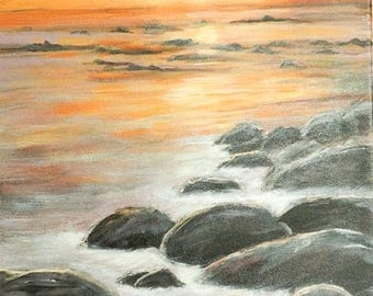 Rocky sunset vertical original acrylic painting