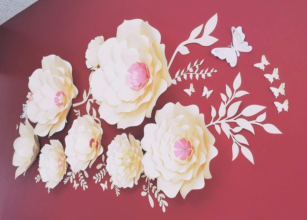 Large paper flowers wall nursery paper flowers wall flowers home large paper flowers wall nursery paper flowers wall flowers home decor wedding flowers amipublicfo Image collections