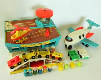 Fisher Price Little People, #996 Play Family Airport, 1972-1976, Made in U.S.A.