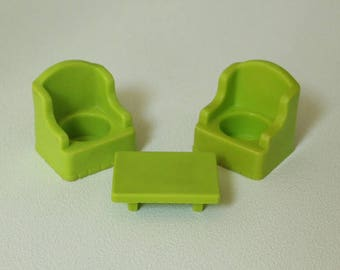 Fisher Price Little People, ARMCHAIRS and COFFEE TABLE, #952 Play Family House, 1980, Made in U.S.A.