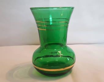 Vintage Emerald Green Vase Gold Trim