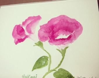 Original watercolour painting Morning Glory