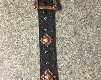 Chocolate brown belt with antique copper belt buckle