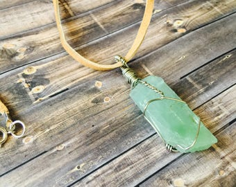Hand-Wrapped Green Calcite Necklace