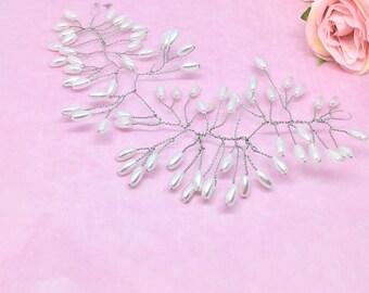 Hair vine, rice pearl bridal hair vine, pearl hair accessories, wedding hair accessories,pearl vine, wedding hair accessories
