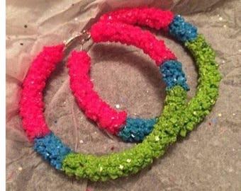 Fruit splash crystal hoop earrings