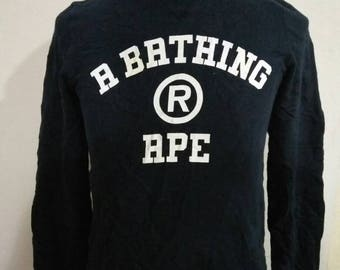 A Bathing Ape Classics Spellout Vintage Blue Navy Color Sweatshirt Size XS Made In Japan