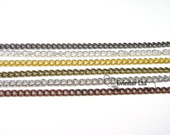 Brass Twisted Curb Chains, Link 2 x 1mm Jewelry Finding, AAK11