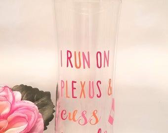 "Plexus Inspired 16oz BPA Free Sport Water Bottle ""I Run on Plexus and Cuss Words"" Pink Multi"
