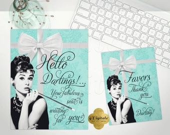 Bridal Shower Decorations, Breakfast at Tiffany's party signs, Audrey Hepburn, hello darlings, favors thank you, Set of 2 {NOT CUSTOMIZABLE}