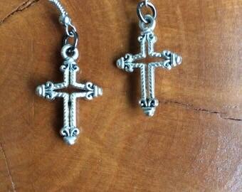 Cross Earrings, Silver Cross Earrings, Textired Cross Earrings, Rope Crosses