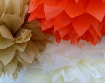 Pack of 10 pom poms /autumn wedding decorations / party decorations / birthdays / home decorations / marquee decorations / rustic wedding