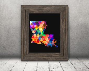Louisiana, Rainbow, Triangles, Boho, Wall Art, Home Decor, Instant Download, Minimalist Art, College, Dorm, Printable