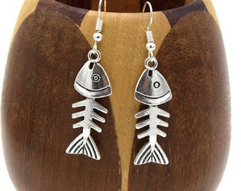 Fish silver bone - Fish bone earrings silver earrings
