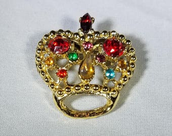 Vintage-Jeweled-Crown-Brooch-Multicolored-Stones-Pin-Jewelry-Accessories