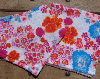 Brightly Colored Floral Bandana Bib and Matching Burp Cloth Set/ Baby Shower Gift Set