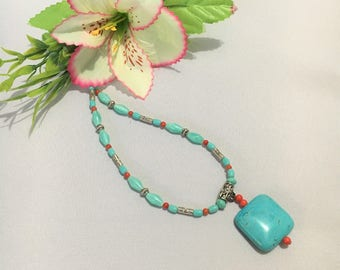 Turquoise and Red Coral Necklace, Pendant, Bali, Semi Precious