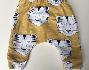 Pickles & Posy Gold Tiger Print Baby Leggings Newborn Scandi Style Handmade Made in England