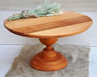 16'' wood cake stand Rustic cake stands for weddings Wooden cake stand Wedding cake display Wood cake pedestal Wedding table centerpiece