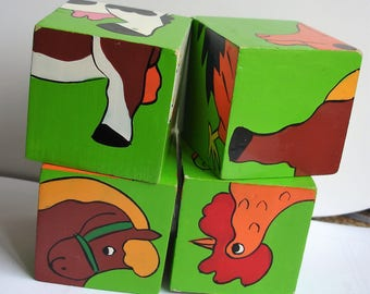 Picture Blocks Puzzle Toddlers First Wooden Picture Block Puzzle - Farm Animals Vintage Educational Toy