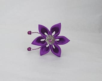 Purple satin flower hair pins