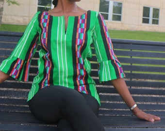 African Print  Top -Anyida Green Bell-Sleeves