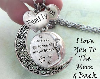 Family, I Love You To The Moon And Back Necklace, Initial, All Sizes, Girls, Teens, Women, Grammy, Mom, Elegant Jewelry, Birthday Gift