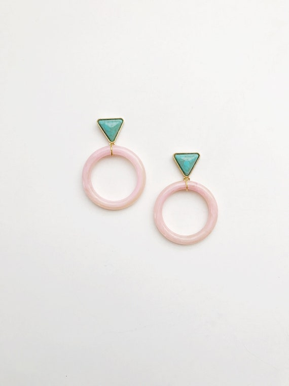Pink Lucite Circle Drop Earrings