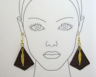 Gold tone feather Leather Earrings! Brown Snakeskin! Hypoallergenic Titanium Earring Wires. Gold Tone Wires. Lightweight  gold feather charm