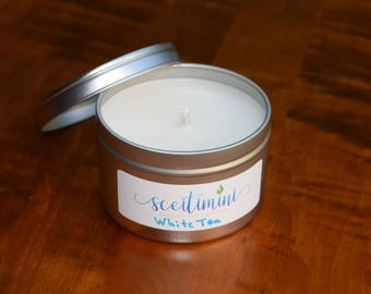 White Tea Soy Candle in 8oz Tin with Lid