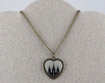 Necklace, heart LDS temple beige