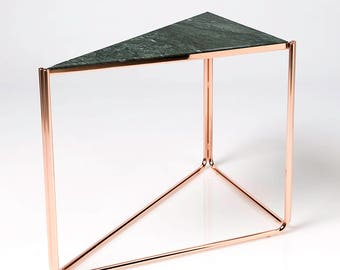 Designer Side Table Black Marble Top Copper Legs