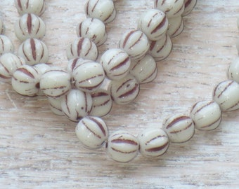 6mm Czech Glass Melon Beads Ivory and Brown Wash  (25pcs) -Fluted- Czech Glass Beads
