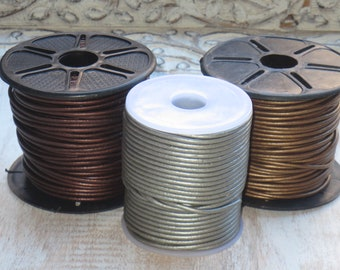 2mm Metallic Leather Cord, Round Leather, Leather Cord, Metallic Leather, 2.0mm leather cord, Silver, Tamba, Kansa