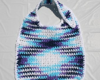 Crocheted Baby Bib - Blue Moon Ombre, Peaches & Creme Cotton