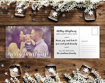 Personalised Family Photo Christmas Greetings Card Printable Winter Holiday Postcard Template Download