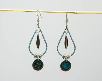 Drop earrings silver and blue