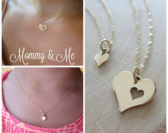 Piece of my heart matching Necklaces, gold mother daughter set, big and little gift, mother daughter jewelry, mommy and me, Otis B