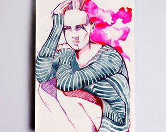 Anna Stripe Fashion Illustration Print, Fashion Sketch, Fashion Art, Fashion Wall Art, Fashion Drawing, Fashion Poster Fashion Watercolor