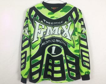 Green camo motocross jersey size M