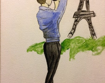 Watercolor Girl Photographing Eiffel Tower Handmade Canvas Painting
