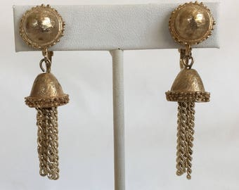 Bell Tassel Earrings, Gold Tone, Clip On, Vintage, 1970s