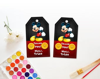 Personalized Mickey Mouse Thank You Tags Birthday Party Red and Black Yellow Buttons Birthday Party Favor  Gift Tags Printable -Digital File