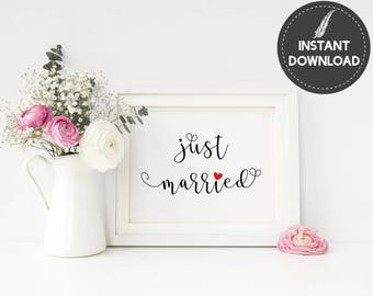 Instant Download - Just Married Wedding Sign Rustic Wedding Decor Printable Favors Sign DIY Printable - Digital File #ES01