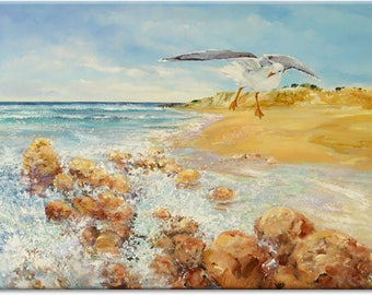 Seagull... seascape animal original painting, nature art | wedding birthday gift | ready to hang 'home sweet home' or as a welcome gift