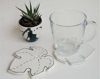 SET of 2 ceramic Coaster Leaf modern minimal handmade perfect gift illustration