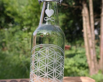 Glass bottle with the flower of life and clip closure, 0, 5 l