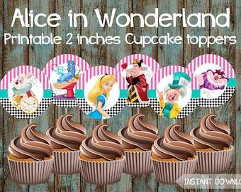 Alice in Wonderland Cupcake Toppers, Alice in Wonderland Party Supplies, Alice in Wonderland Cake Topper, Alice in Wonderland Birthday party